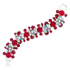 Crystal Juliana Five Link Bracelet With Floral Motif By DeLizza & Elster, 1960s