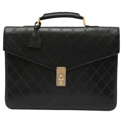 Chanel Vintage 90's Black Diamond Quilted Briefcase