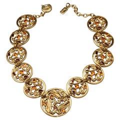 Vintage YVES SAINT LAURENT Ysl Jewelled Round Filigree Disc Necklace