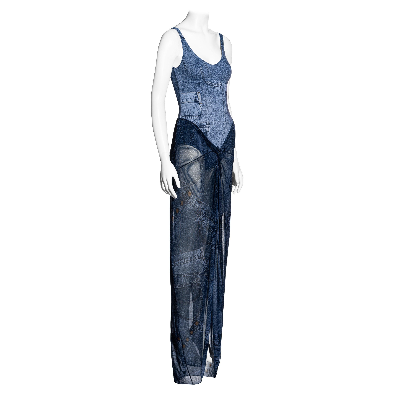 Christian Dior by John Galliano denim print bodysuit and sarong skirt, ss 2002