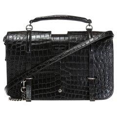 """Saint Laurent Black Black Mock Croc Leather """"Charlotte"""" Shoulder Bag"""
