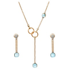 Pomellato Blue Topaz Diamond 18K Rose Gold Necklace and Long Earrings Set