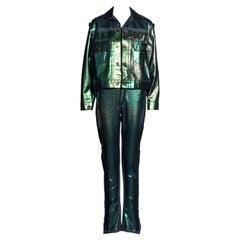 Vivienne Westwood metallic sea green denim jacket and pants set, ss 1993