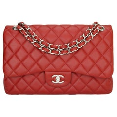 CHANEL Classic Double Flap Jumbo Bag Red Soft Caviar with Silver Hardware 2011