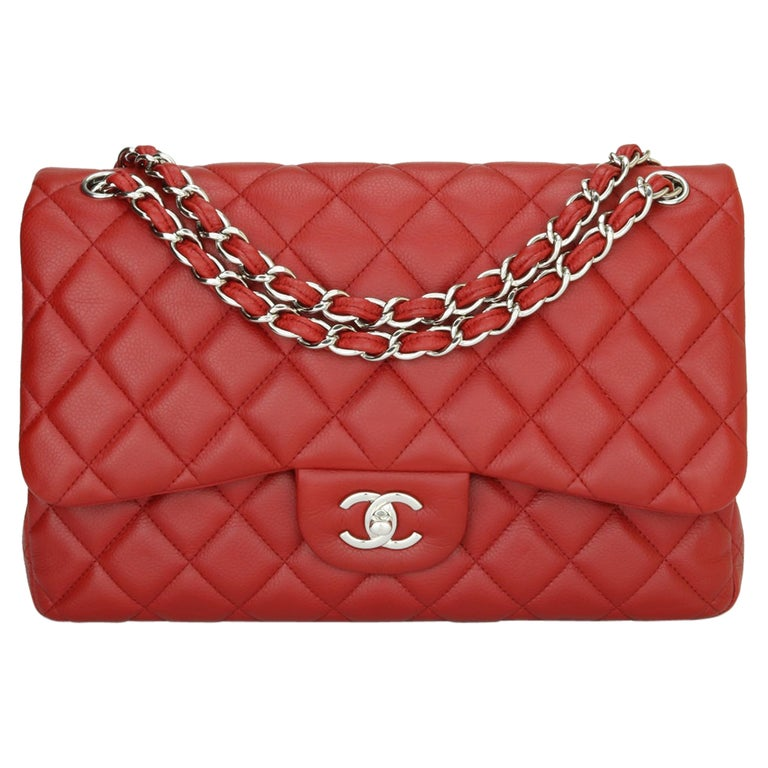 CHANEL Classic Double Flap Jumbo Bag Red Soft Caviar with Silver Hardware 2011 For Sale