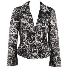 Battistoni Roma Italian Black and White Wool Textured Blazer Jacket