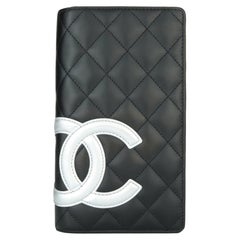 CHANEL Cambon Long Wallet Black and Silver Calfskin with Silver Hardware 2012