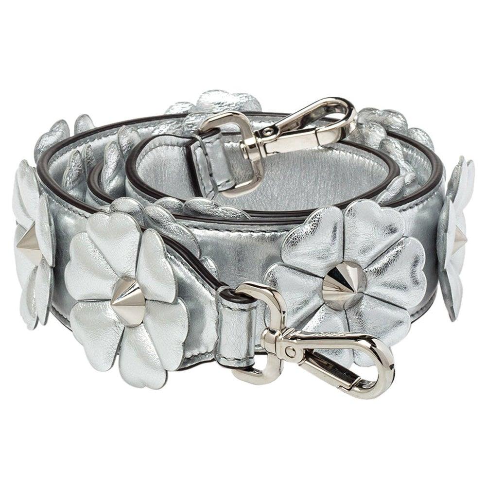 Fendi Metallic Silver Flowerland Leather Strap You Shoulder Bag Strap