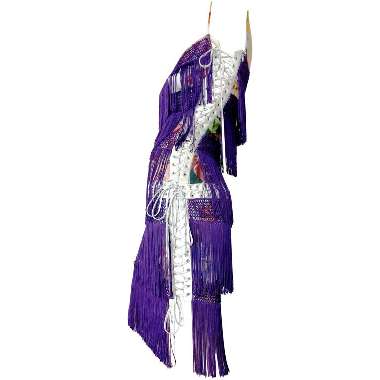 "Dolce & Gabbana Silk Fringe Lace-up Flapper Dress in ""The Great Gatsby"" Style"
