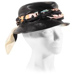 SALVATORE FERRAGAMO Black Leather PORK PIE HAT Cap w/ Silk Lining & Scarf AS