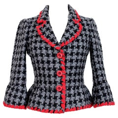 Moschino Gray Red Wool Mohair Pied De Poule Evening Jacket