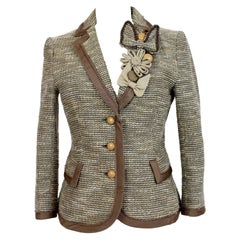 Moschino Beige Brown Cotton Flared Bow Jacket