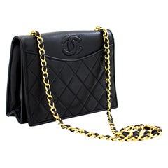 CHANEL Vintage Classic Chain Shoulder Bag Black Quilted Full Flap