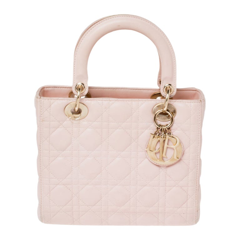 Dior Pink Cannage Leather Medium Lady Dior Tote For Sale