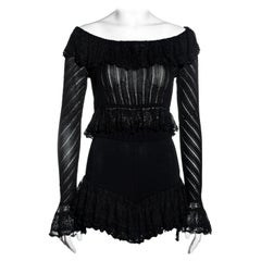 Azzedine Alaia black rayon off-shoulder top and mini shorts set, ss 1992