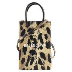 Balenciaga Shopping Phone Holder Printed Leather