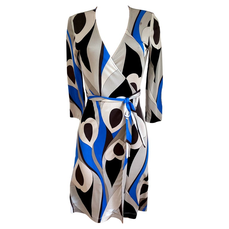 Abstract Peacock Feather Print Wrap Dress FLORA KUNG For Sale