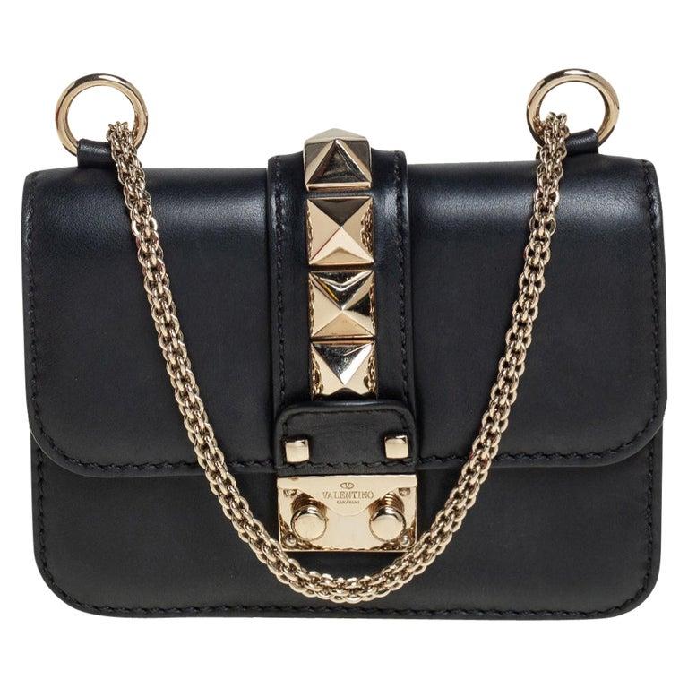 Valentino Black Leather Mini Rockstud Glam Lock Flap Bag For Sale