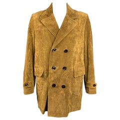 TOM FORD Size 48 Tan Textured Leather Double Breasted Coat