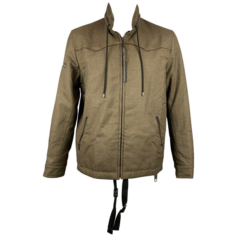 LANVIN Size 42 Olive Wool Zip Up Hooded Zip Up Jacket For Sale