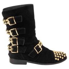 GIUSEPPE ZANOTTI black suede STUDDED BIKER Flat Boots Shoes 38