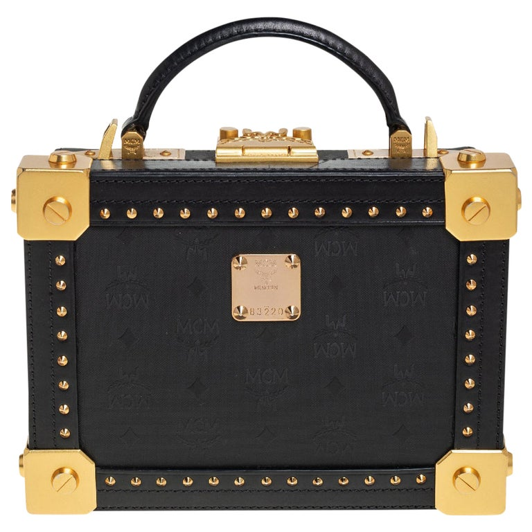 MCM Black Visetos Coated Canvas and Leather Berlin Box Bag