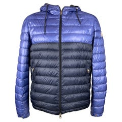 MONCLER Size XL Blue & Navy Quilted Polyamide Zip Up Jacket