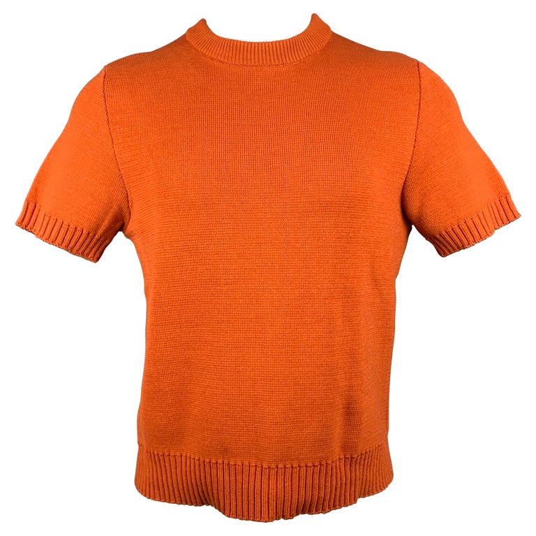 MARNI Size XS Orange Knitted Cotton Short Sleeve Pullover For Sale