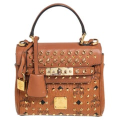 MCM Brown Visetos Coated Canvas and Leather Mini Heritage Top Handle Bag