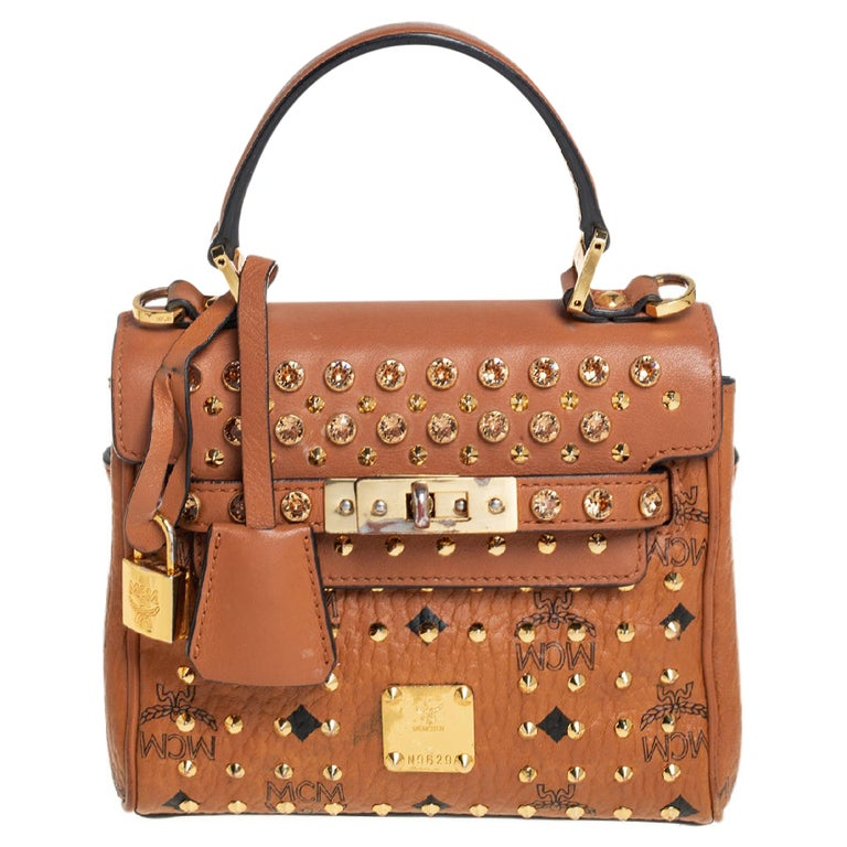 MCM Brown Visetos Coated Canvas and Leather Mini Heritage Top Handle Bag For Sale