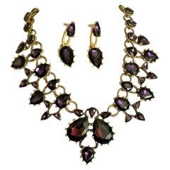 Signed Oscar de la Renta Faux Amethyst Crystal Designer Necklace and Earrings