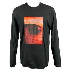 EVEREST ISLES Size L Black Applique Cotton Stitched Waved Photo T-shirt