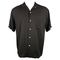 RAG & BONE Size M Black Viscose Camp Short Sleeve Shirt