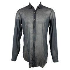 DRIES VAN NOTEN Size S Black Cotton Button Up Long Sleeve Shirt
