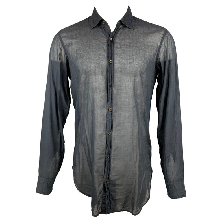 DRIES VAN NOTEN Size S Black Cotton Button Up Long Sleeve Shirt For Sale
