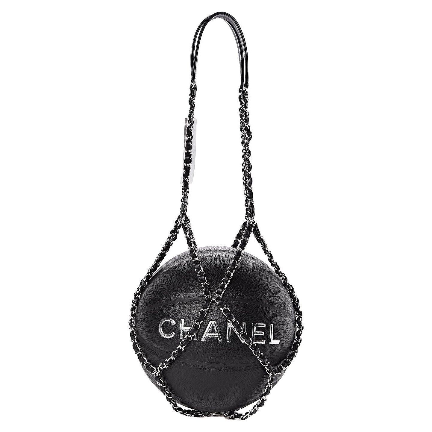 Chanel Black Lambskin Chain Net Collectors Basketball