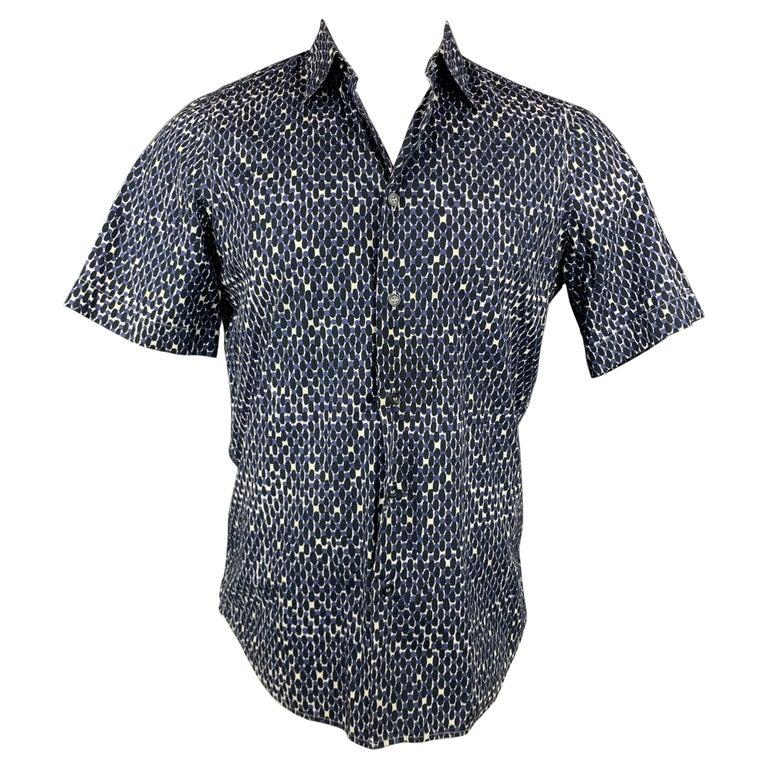 MARNI Size XS Navy & White Print Cotton Button Up Short Sleeve Shirt