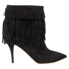 AQUAZZURA black suede SASHA Fringed Ankle Boots Shoes 37.5