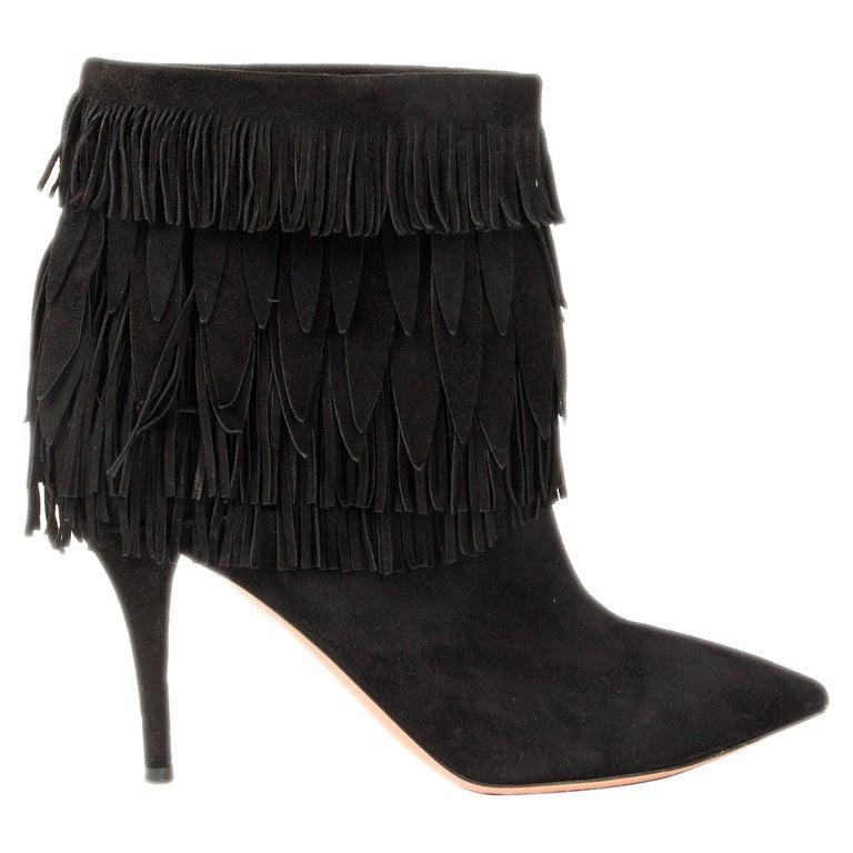AQUAZZURA black suede SASHA Fringed Ankle Boots Shoes 37.5 For Sale