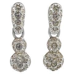 Swarovski Silver Tone Clear Crystal Swan Logo Drop Earrings