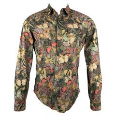 VALENTINO Size M Multi-Color Print Cotton Hidden Button Long Sleeve Shirt
