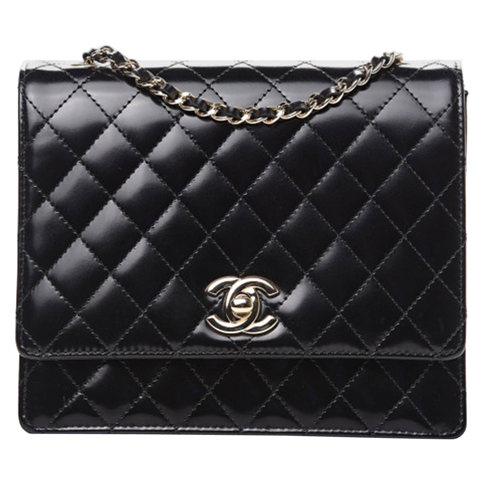 Chanel Black Quilted Rare Mini Classic Patent Flap Bag Silver Hardware Vintage