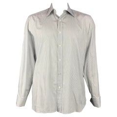 TOM FORD Size XL White & Black Pinstripe Cotton Button Up Long Sleeve Shirt