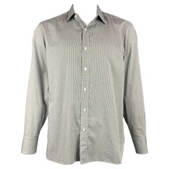 TOM FORD Size XL Black & White Grid Cotton Button Up Long Sleeve Shirt
