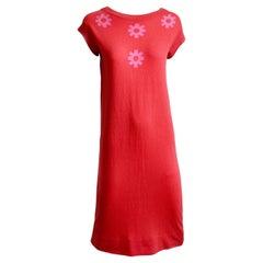 Bonnie Cashin Pink Cashmere Dress Intarsia Knit Floral Details Vintage 60s