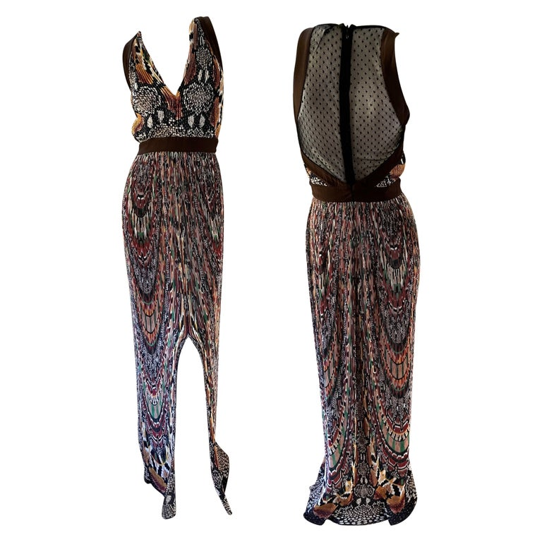 Just Cavalli Vintage Pleated Ikat Print Evening Dress with Sheer Sexy Back  For Sale