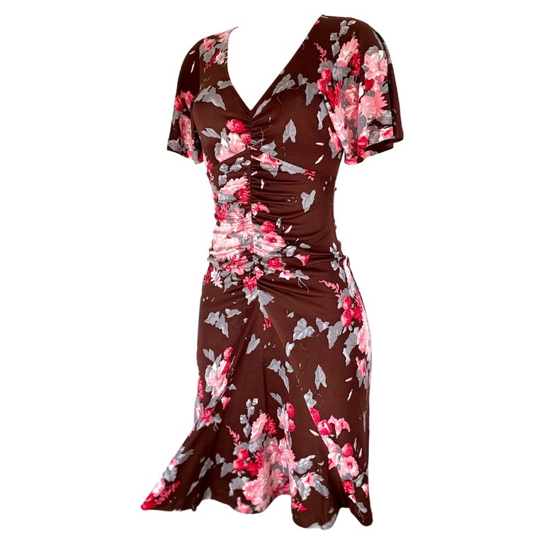 FLORA KUNG chocolate brown pink floral silk dress For Sale