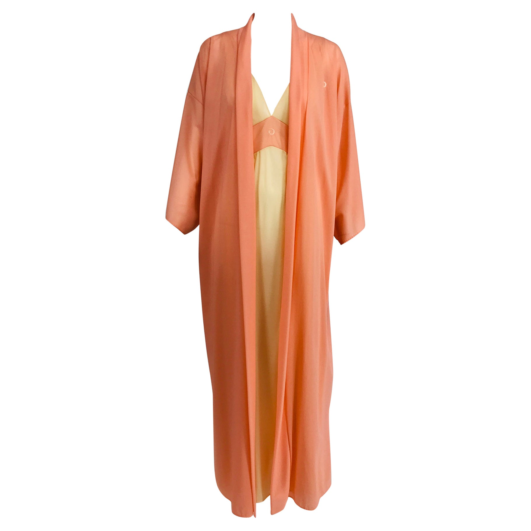 Emilio Pucci for Formfit Rogers 2pc. Sheer Peignoir Robe & Gown 1970s