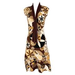Abstract lotus print flared midi silk dress - FLORA KUNG