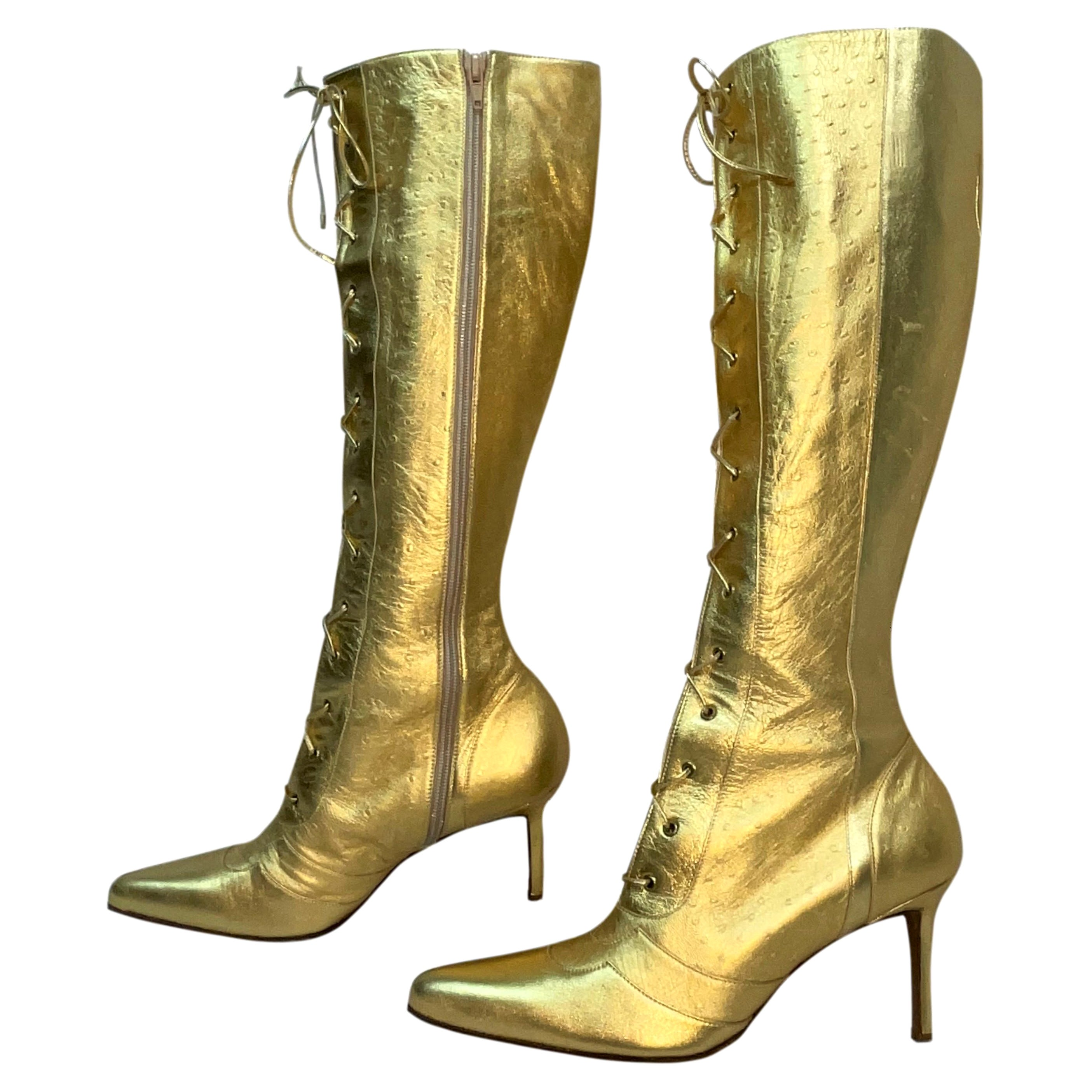 F/W 2000 Christian Dior John Galliano Gold Ostrich Leather Tall Heel Boots